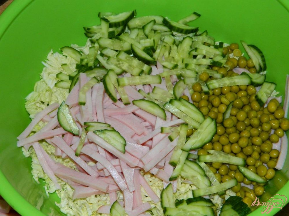 капуста ветчина огурец салат